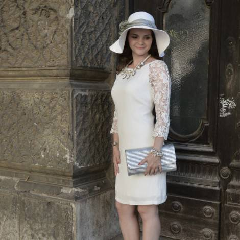 Hot Summer Night Survival Outfit with a lacy white dress and white hat